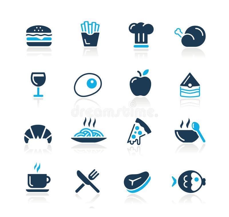 De Pictogrammen van het voedsel - 1 Azuurblauwe Reeks van // royalty-vrije illustratie