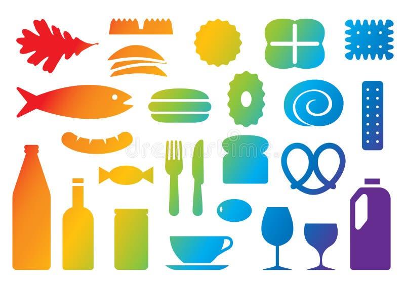 De pictogrammen van het voedsel & van de drank stock illustratie