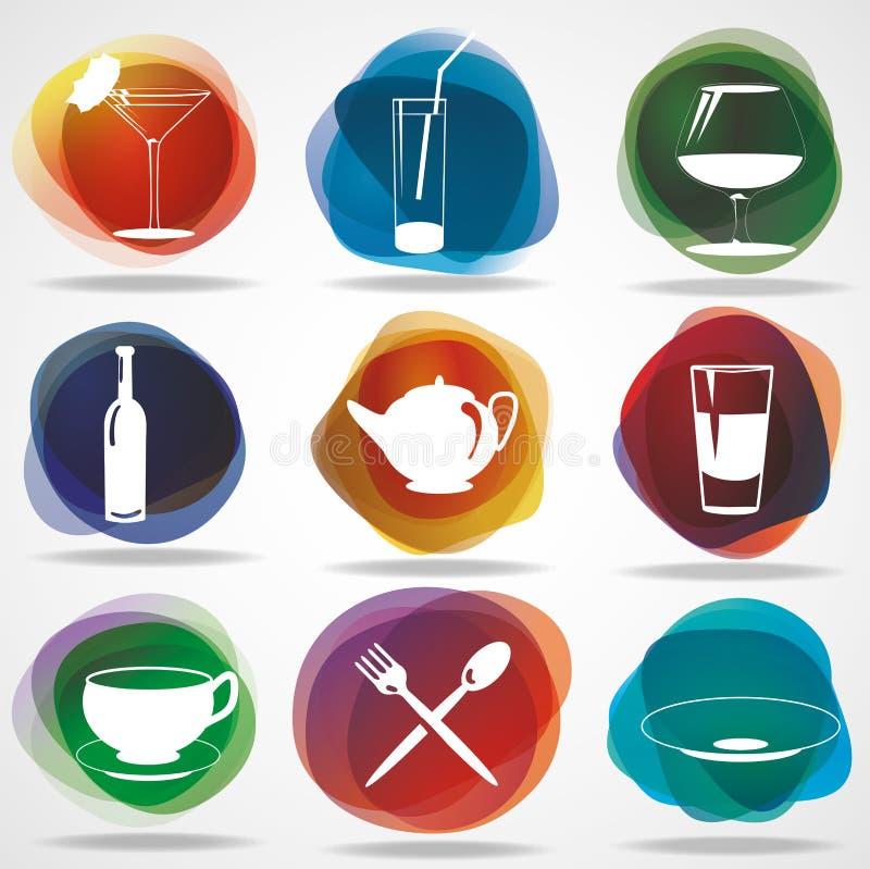 De pictogrammen van het voedsel en van de drank stock illustratie