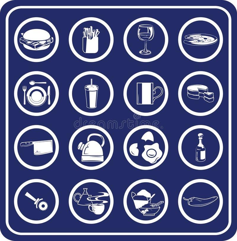 De pictogrammen van het voedsel en van de drank vector illustratie