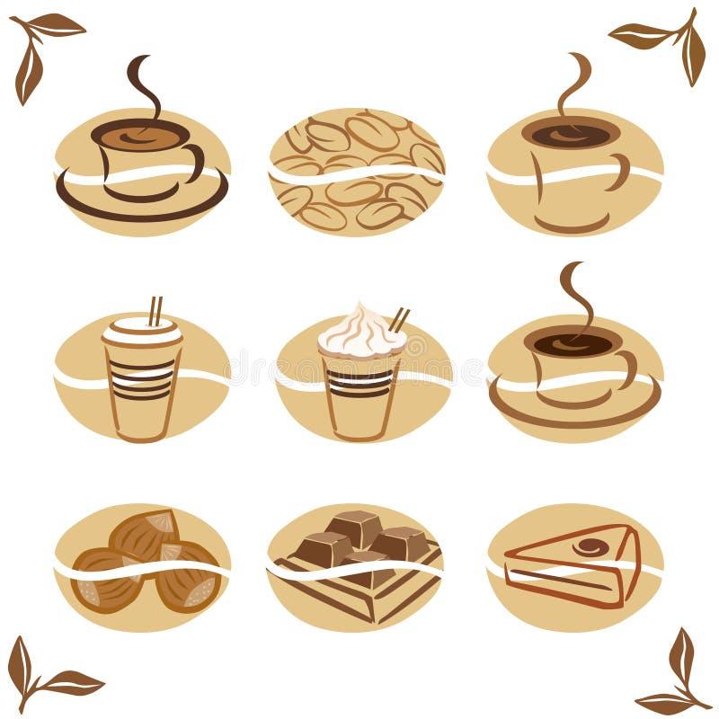 De pictogrammen van het voedsel: Koffie royalty-vrije illustratie