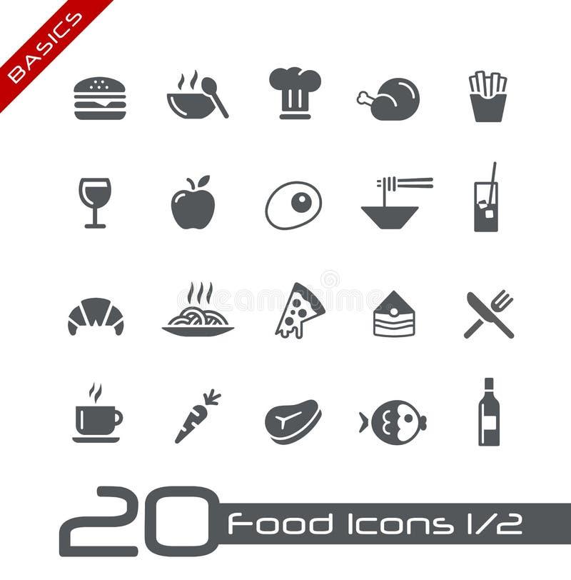 De Pictogrammen van het voedsel - Reeks 1 van 2 Grondbeginselen van // stock illustratie