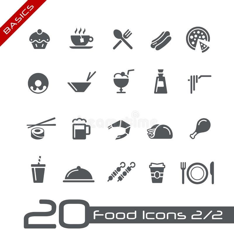 De Pictogrammen van het voedsel - Reeks 2 van 2 Grondbeginselen van // royalty-vrije illustratie