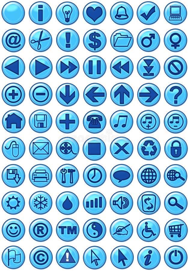 De Pictogrammen van het Web in blauw stock illustratie