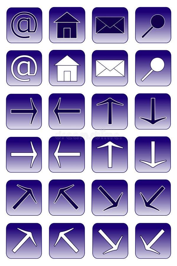 De pictogrammen van het Web: donkerblauwe 1 royalty-vrije illustratie