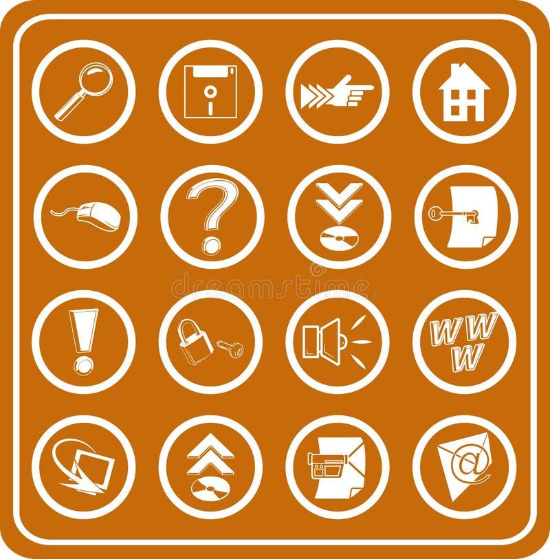 De pictogrammen van het Web en van de Gegevensverwerking stock illustratie
