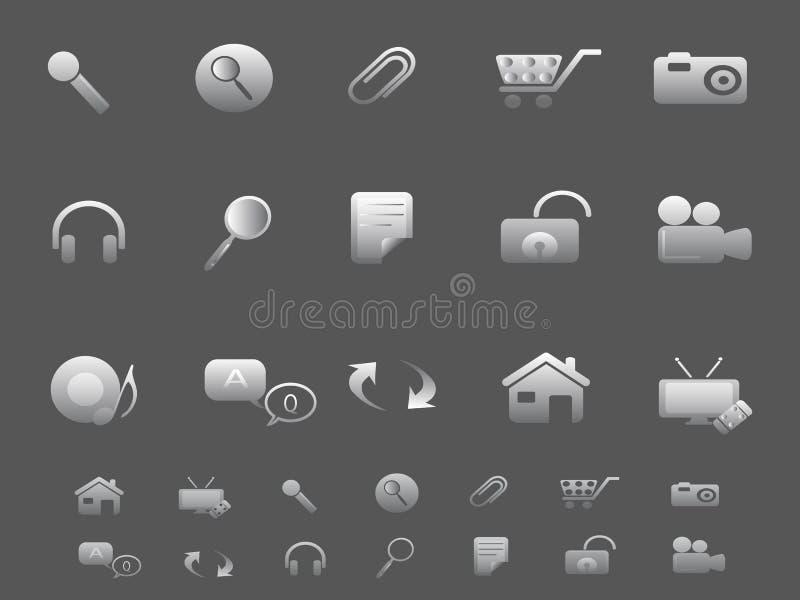De pictogrammen van het Web en van Internet die in grijs worden geplaatst royalty-vrije illustratie