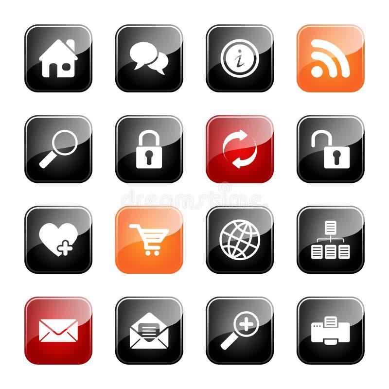 De pictogrammen van het Web en van Internet - glanzende reeks vector illustratie