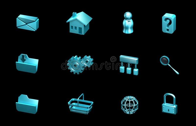De pictogrammen van het Web en van Internet. Voor websites, presentatie royalty-vrije illustratie