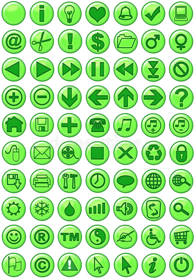 De Pictogrammen van het Web in groen royalty-vrije illustratie