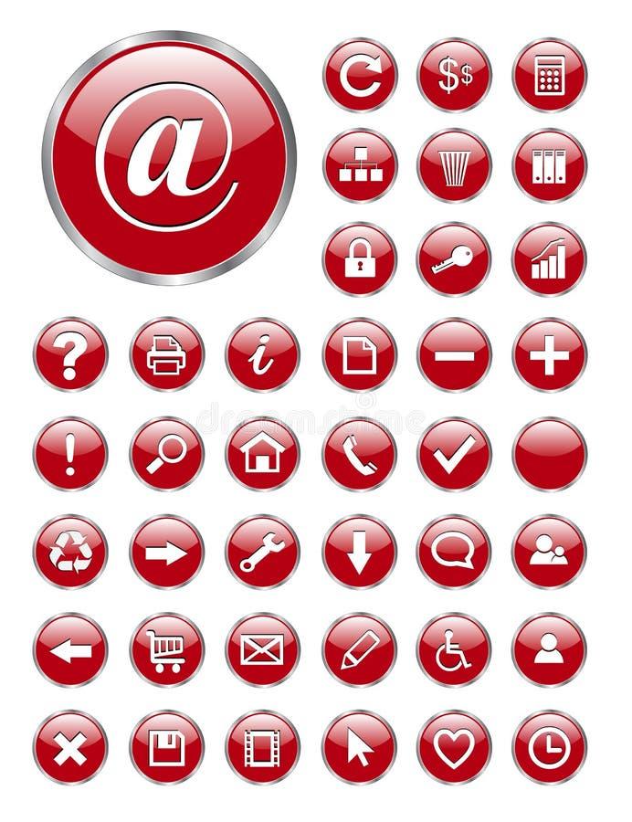 De pictogrammen van het Web, knopen stock illustratie