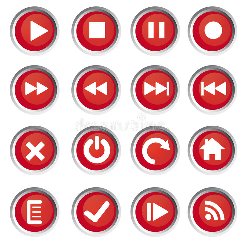 De pictogrammen van het Web, knopen royalty-vrije illustratie