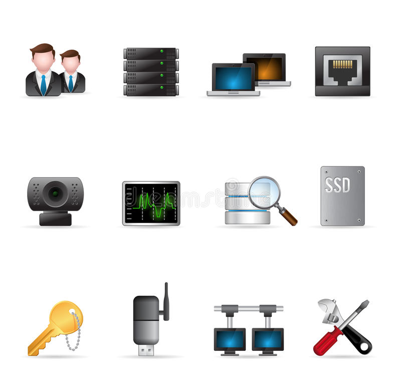 De Pictogrammen van het Web - Meer Netwerk van de Computer vector illustratie