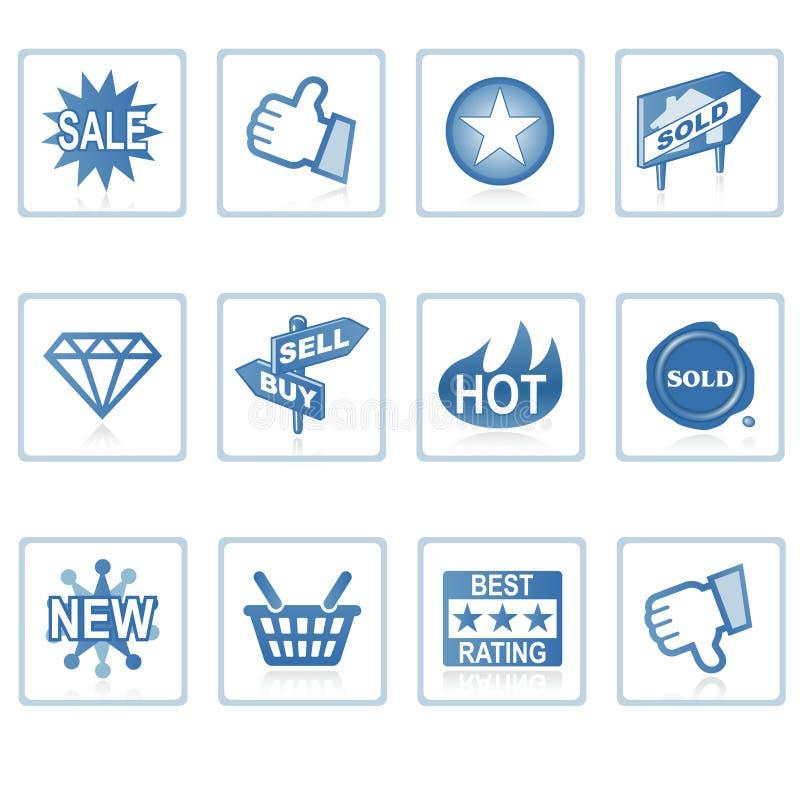 De pictogrammen van het Web: Online Winkelende 1 vector illustratie