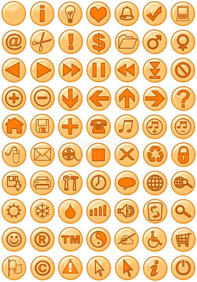 De Pictogrammen van het Web in sinaasappel stock illustratie