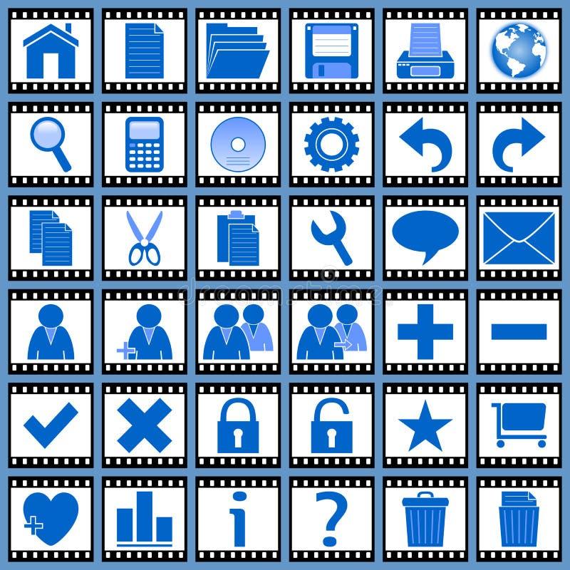 De Pictogrammen van het Web van de film [1] vector illustratie