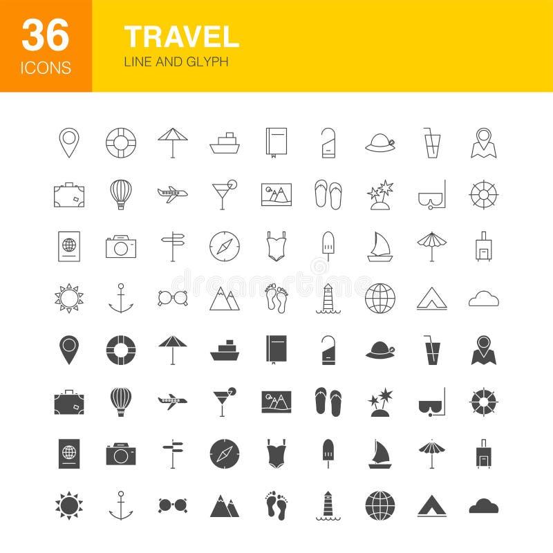 De Pictogrammen van het Webglyph van de reislijn vector illustratie
