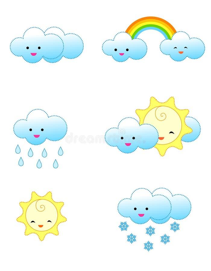 De pictogrammen van het weer vector illustratie