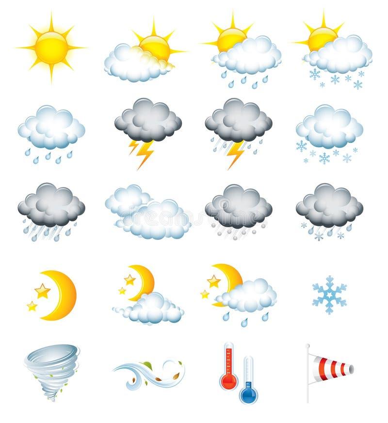De pictogrammen van het weer stock foto