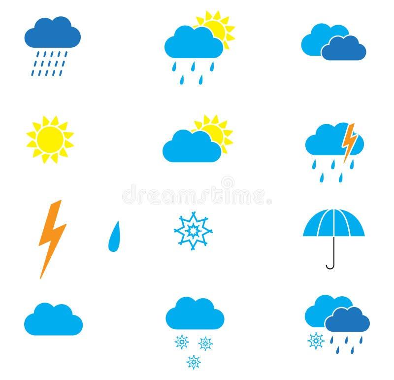 De pictogrammen van het weer stock fotografie