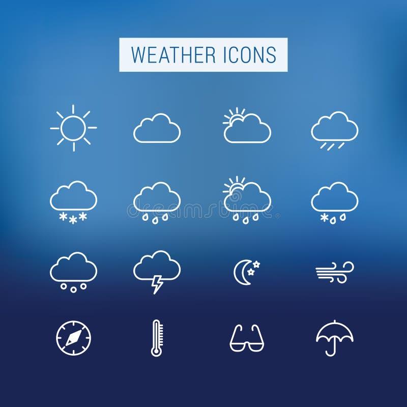 De pictogrammen van het weer stock illustratie