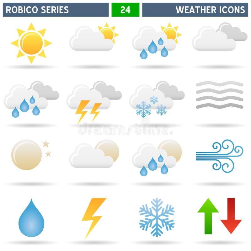De Pictogrammen van het weer - Reeks Robico stock illustratie