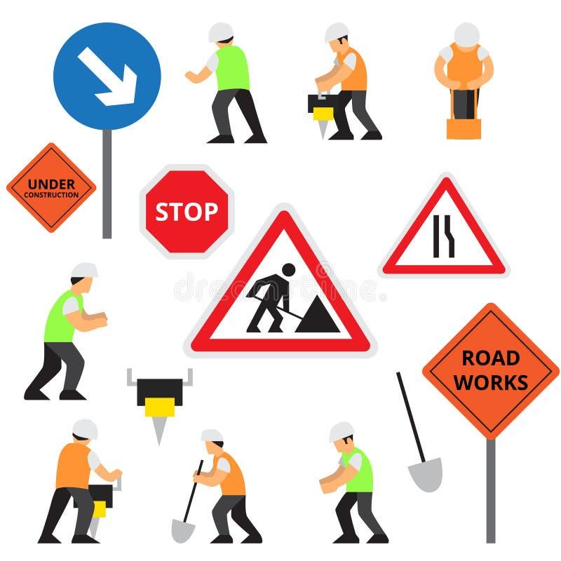 De pictogrammen van het wegwerk of geplaatste kunstwerkenelementen stock illustratie