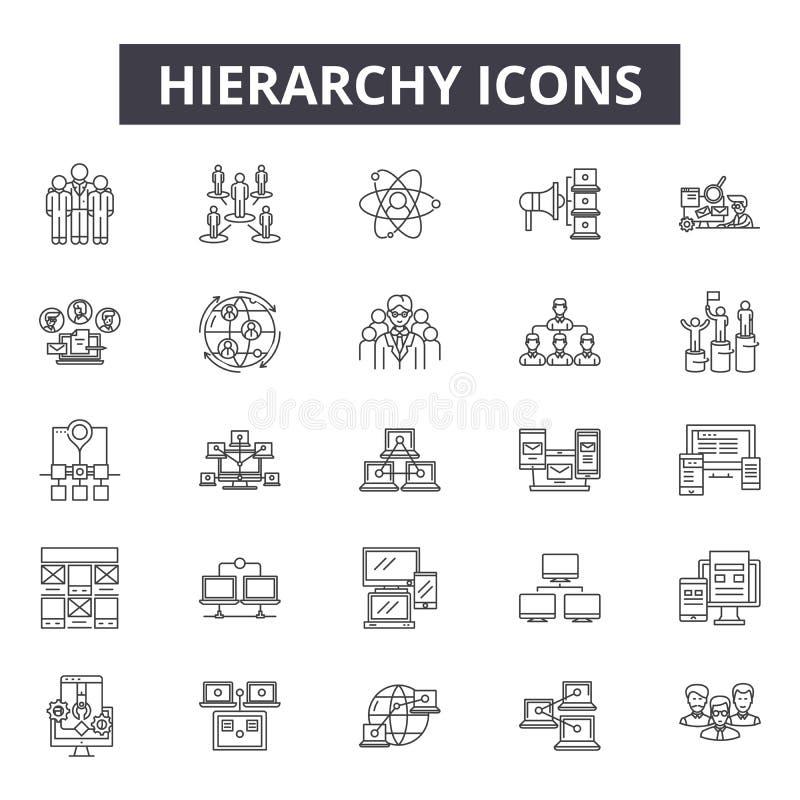De pictogrammen van de hiërarchielijn, tekens, vectorreeks, het concept van de overzichtsillustratie stock illustratie