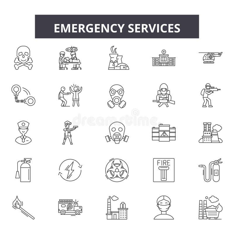 De pictogrammen van de hulpdienstenlijn, tekens, vectorreeks, het concept van de overzichtsillustratie royalty-vrije illustratie