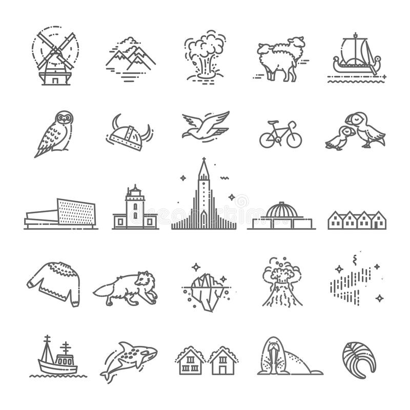 De pictogrammen van IJsland Toerisme en aantrekkelijkheden, dun lijnontwerp stock illustratie