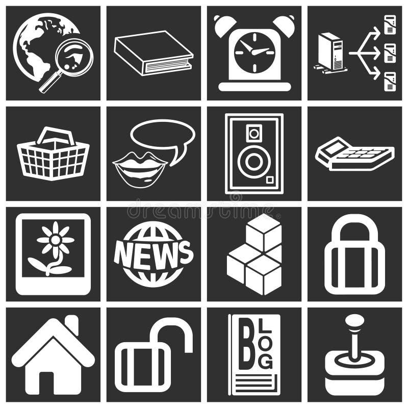 De Pictogrammen van Internet en van de Gegevensverwerking royalty-vrije illustratie