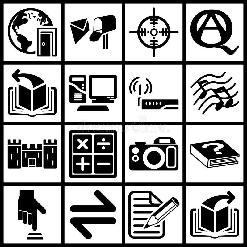 De Pictogrammen van Internet en van de Gegevensverwerking vector illustratie