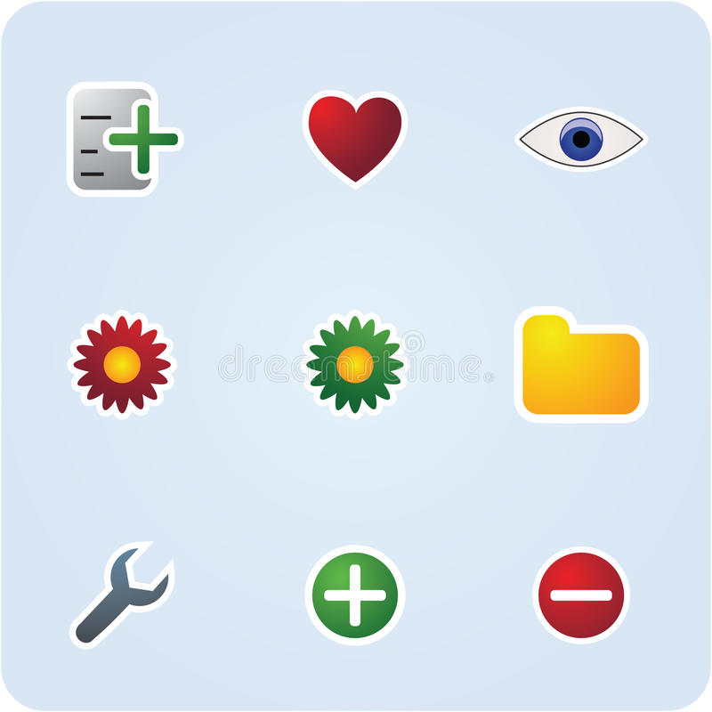De pictogrammen van Internet en van de toepassing royalty-vrije illustratie
