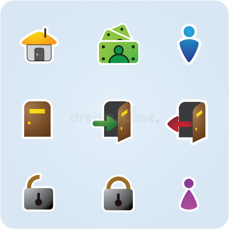 De pictogrammen van Internet en van de toepassing stock illustratie