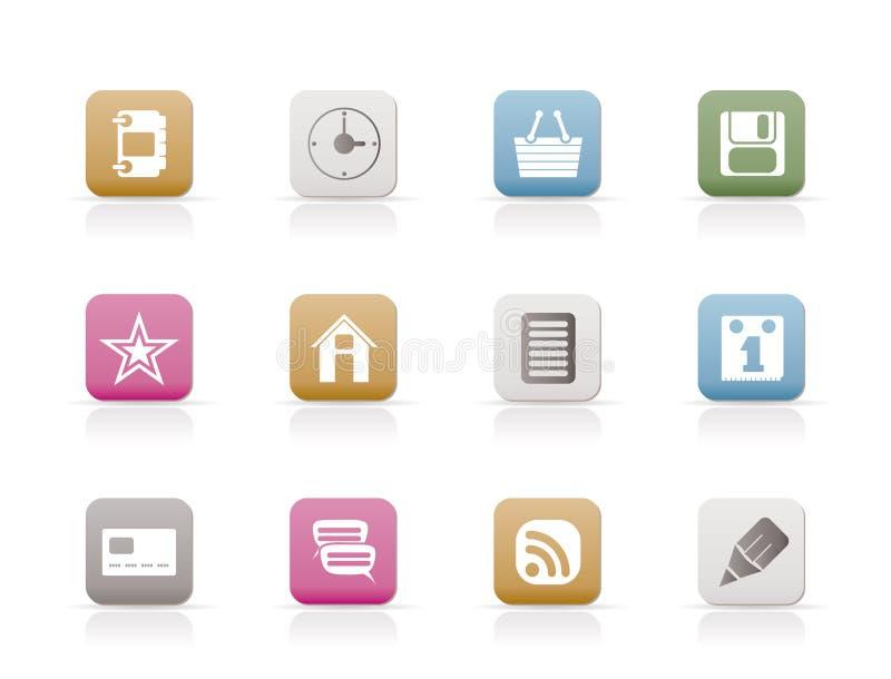 De Pictogrammen van Internet en van de Website stock illustratie
