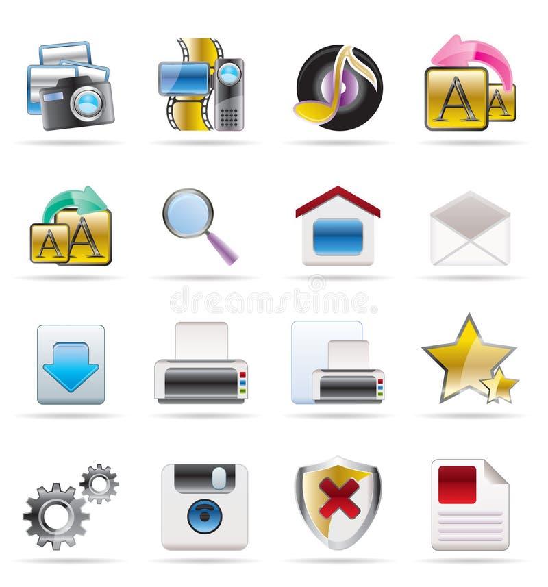 De pictogrammen van Internet en van de Website royalty-vrije illustratie