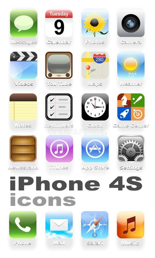 De pictogrammen van IPhone 4S stock illustratie
