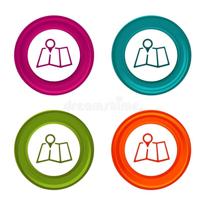 De pictogrammen van de kaartwijzer Tellerstekens plaatssymbool Kleurrijke Webknoop met pictogram royalty-vrije illustratie