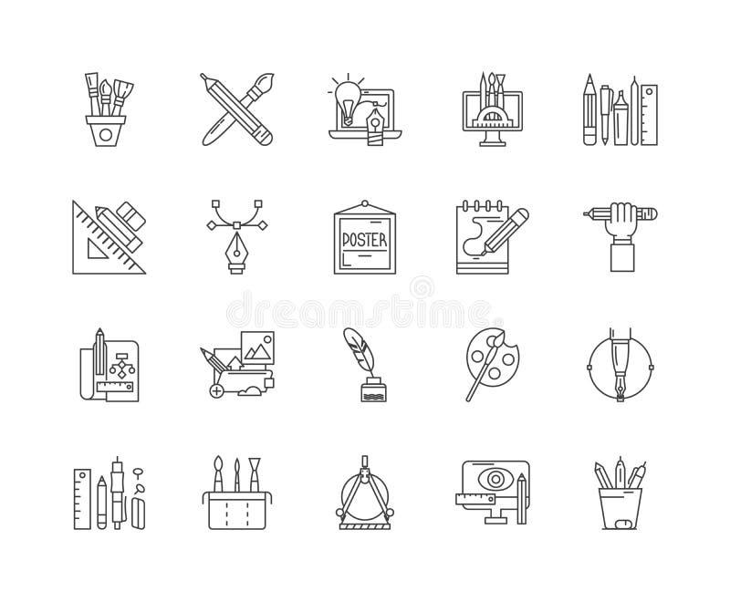 De pictogrammen van de kalligraaflijn, tekens, vectorreeks, het concept van de overzichtsillustratie stock illustratie