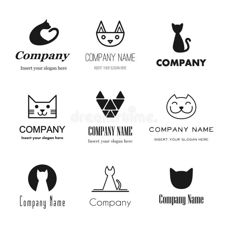 De pictogrammen van kattenemblemen stock illustratie
