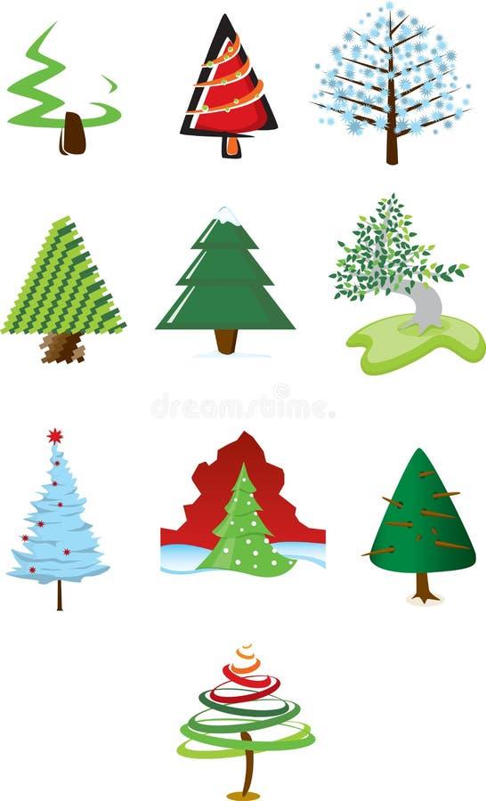 De Pictogrammen van kerstbomen vector illustratie