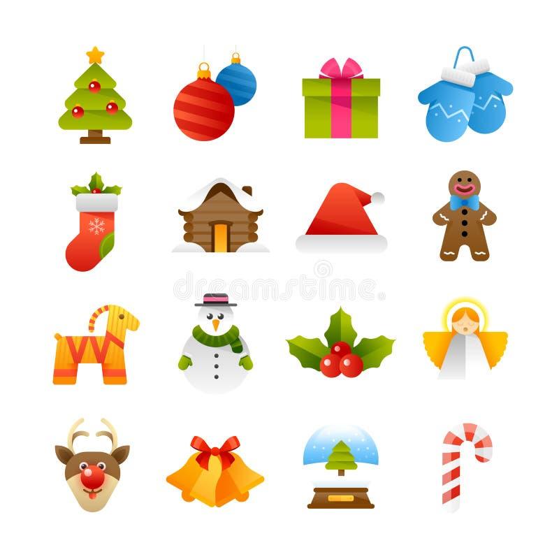 De pictogrammen van Kerstmis stock foto