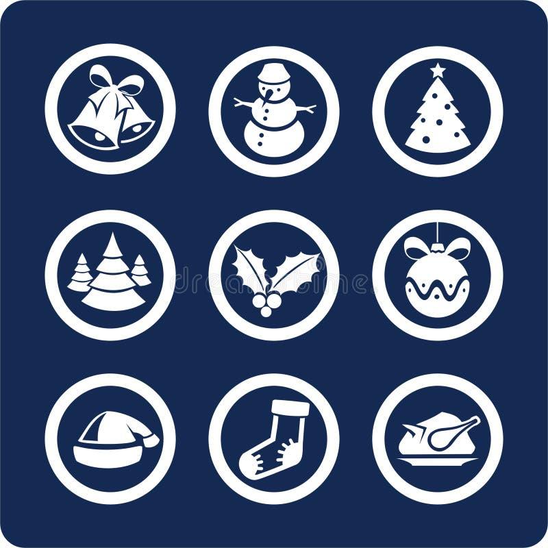 De pictogrammen van Kerstmis en van het Nieuwjaar (plaats 1, deel 2) royalty-vrije illustratie
