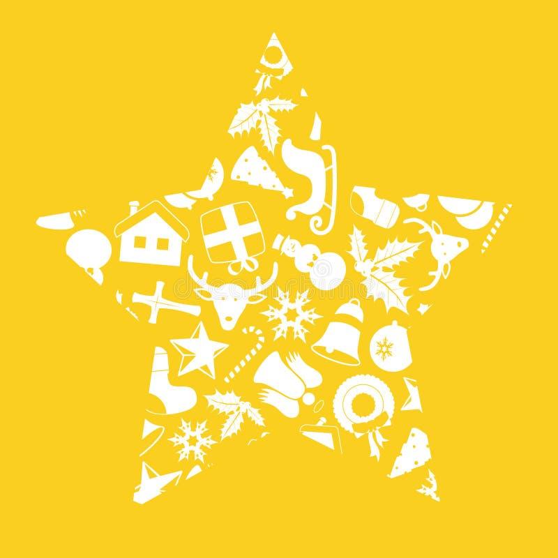 De pictogrammen van Kerstmis in stervorm stock illustratie
