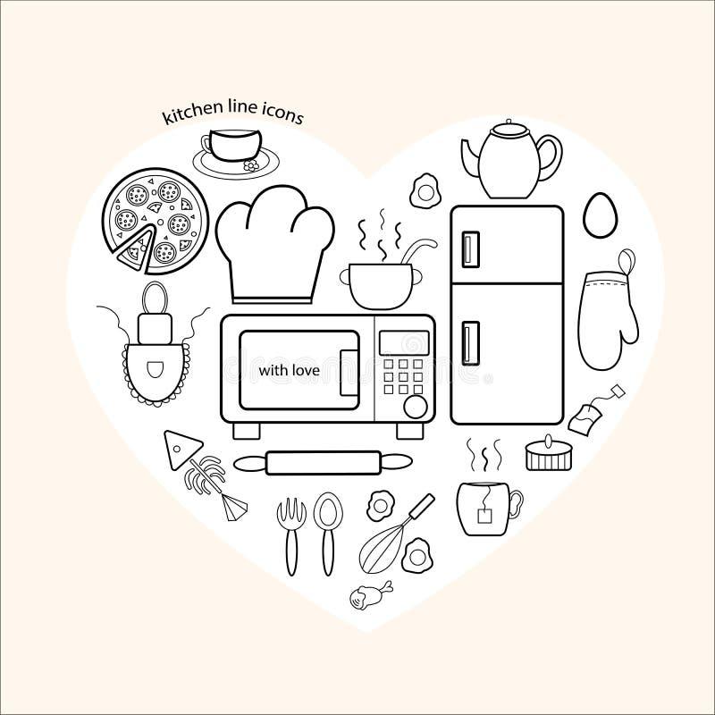 De Pictogrammen van keukenpunten aan u royalty-vrije illustratie