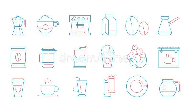 De pictogrammen van de koffiekop Heet drinkt thee en koffie van de espressokop en mok het voedsel vector lineaire symbolen van de stock illustratie