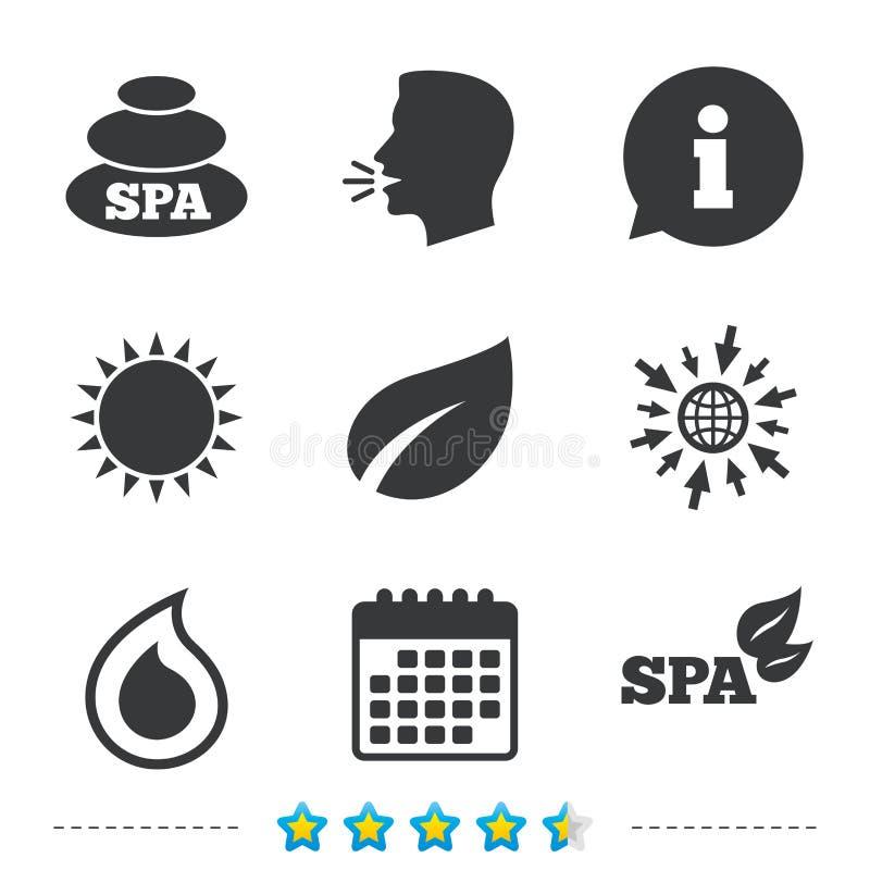 De pictogrammen van kuuroordstenen Waterdaling met bladsymbolen vector illustratie