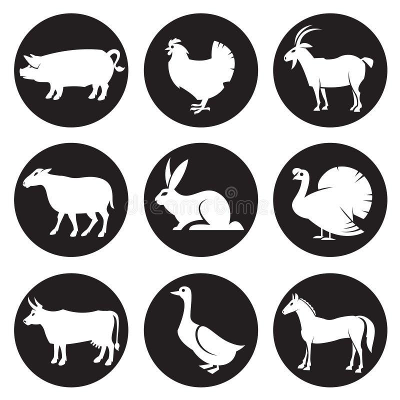 De pictogrammen van landbouwbedrijfdieren royalty-vrije illustratie