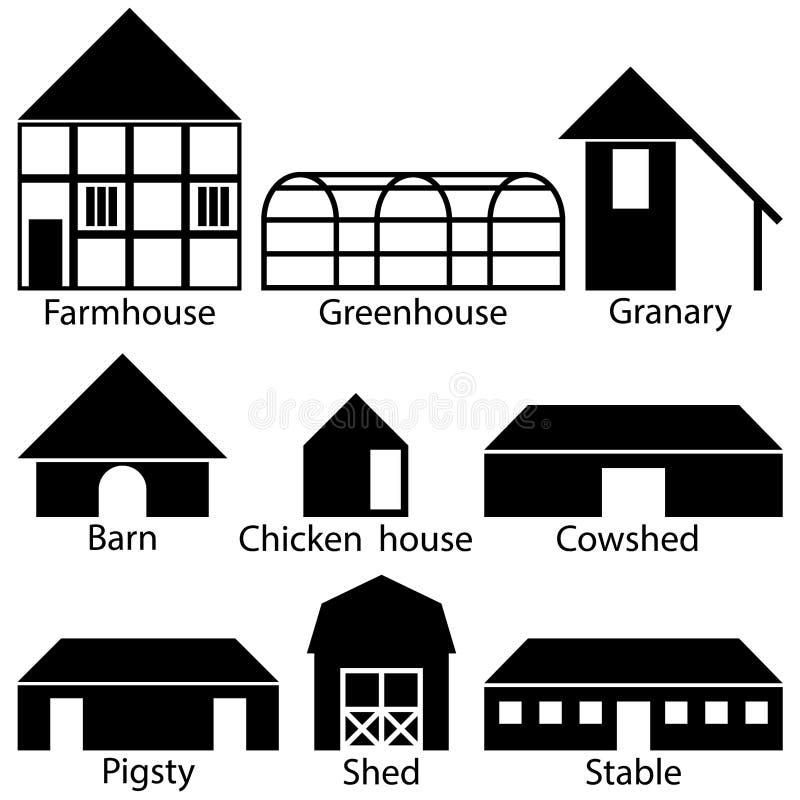 De Pictogrammen van landbouwbedrijfgebouwen, Vectorillustratie vector illustratie