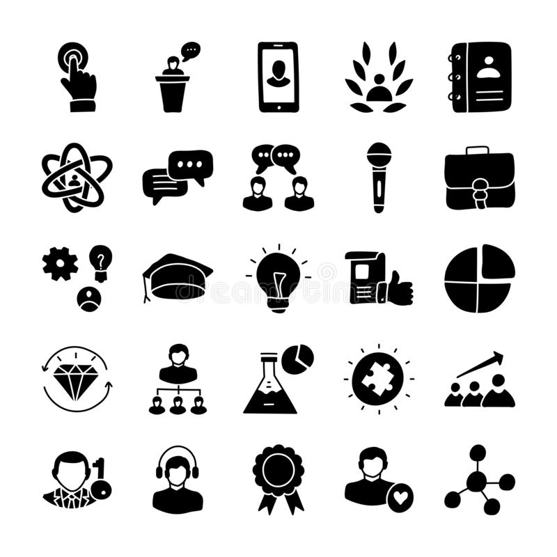 De Pictogrammen van leidingsglyph royalty-vrije illustratie